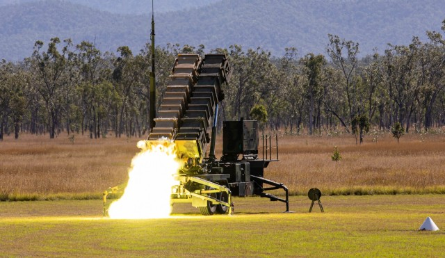 Soldiers from 1-1 Air Defense Artillery Battalion fires a patriot missile from a patriot missile launcher during Exercise Talisman Sabre 21 on July 16, 2021, at Camp Growl located in Queensland, Australia. This is the ninth iteration of Talisman Sabre, a large-scale, bilateral military exercise between Australia and the U.S. involving more than 17,000 participants from seven nations. The month-long multi-domain exercise consists of a series of training events that reinforce the strong U.S./Australian alliance and demonstrate the U.S. Military's unwavering commitment to a free and open Indo-Pacific. (U.S. Army photo by Staff Sgt. Malcolm Cohens-Ashley, 94th AAMDC Public Affairs.)