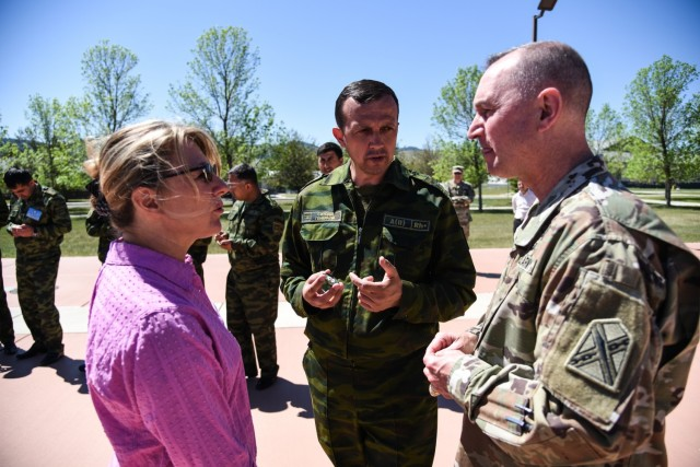 Brig. Gen. James Ring, Virginia National Guard Director of the Joint Staff, and Col. Todd Hubbard, VNG Operations Chief, visit  Regional Cooperation 2021, a U.S. Central Command-led exercise designed to promote cooperation among the U.S and partner nations in Central and South Asia, June 14, 2021, in Helena, Montana. Fifteen Virginia Soldiers participated in the event and were integrated in various staff positions and used the opportunity to strengthen their relationship with their state partners from Tajikistan.