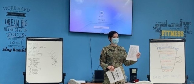 Maj. Ashley Welsh facilitates a Values & Core Beliefs group during the RRC. U.S. Army photo by Spc. Diana Nieves.