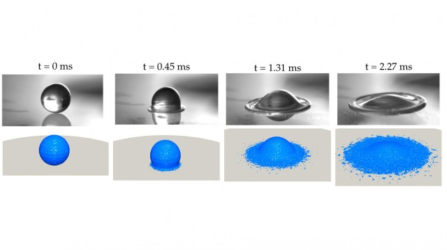 Computational fluid dynamics simulation results of aircraft gas turbine engine aerothermodynamics including particulate collision and coalescence dynamics and particulate impact and wetting process on substrate at high temperatures.