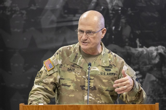 Gen. Edward M. Daly, U.S. Army Materiel Command commanding general, delivers his remarks during a U.S. Army Financial Management Command assumption of command ceremony at the Maj. Gen. Emmett J. Bean Federal Center in Indianapolis July 15, 2021. During the ceremony, Col. Paige M. Jennings assumed command of USAFMCOM, which enables the readiness of America's Army by serving as the focal point for all finance and comptroller operations while providing capabilities that facilitate accountability, auditability and stewardship. (U.S. Army photo by Mark R. W. Orders-Woempner)
