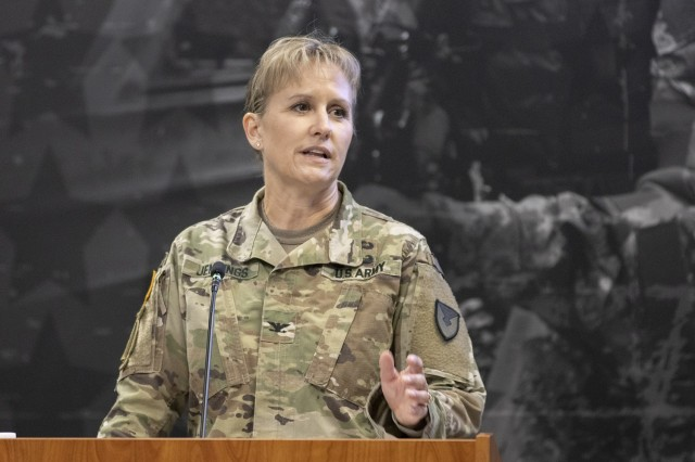 Col. Paige M. Jennings, U.S. Army Financial Management Command commander, delivers remarks during her assumption of command ceremony at the Maj. Gen. Emmett J. Bean Federal Center in Indianapolis July 15, 2021. USAFMCOM enables the readiness of America's Army by serving as the focal point for all finance and comptroller operations while providing capabilities that facilitate accountability, auditability and stewardship. (U.S. Army photo by Mark R. W. Orders-Woempner)