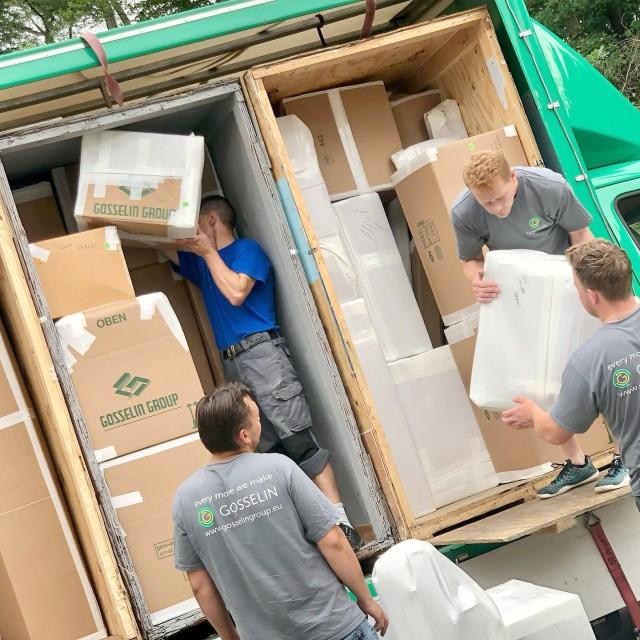 A German moving company crew loads the worldly possessions of an American U.S. Army Garrison Rheinland-Pfalz employee July 12, 2021.