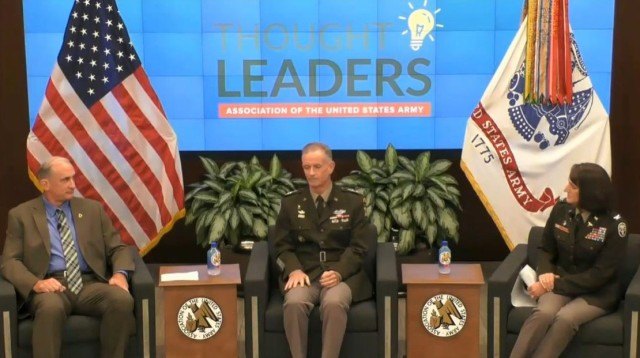 Lt. Gen. Walter Piatt, center, director of the Army Staff, speaks about mindfulness during a Thought Leaders webinar hosted by the Association of the U.S. Army July 21, 2021.