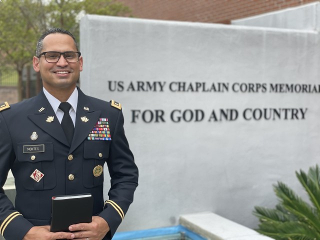 CH candidate David Montes Jr. stands in front of the U.S. Army Chaplain Corps Memorial at the U.S. Army Chaplain Center and School (USACHCS) Fort Jackson, South Carolina April 11, 2021.