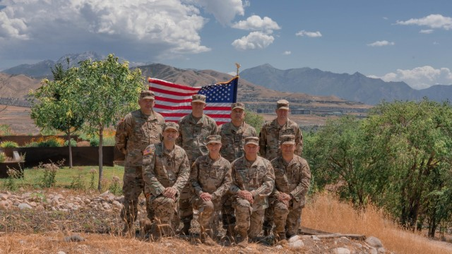 Eight cyber experts from the Pennsylvania National Guard are participating in Cyber Shield, the Department of Defense's largest unclassified cyber defense exercise, from July 10-23 at Camp Williams, Utah. Bottom row (from left to right): Capt. Sean Smith, Maj. Christine Pierce, Chief Warrant Officer 3 Jeremy Marroncelli, Staff Sgt. Andrew Clancey; Top row (from left to right): Sgt. 1st Class Keith Stout, Sgt. 1st Class Brian Frantz, Master Sgt. Elefterios Ginnis, Sgt. 1st Class Douglas Byers (National Guard photo by Sgt. Jeffrey Reno)