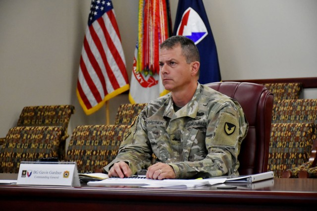 Brig. Gen. Gavin Gardner, commander of Joint Munitions Command, discusses modernization efforts across the JMC Enterprise with Army leaders during the virtual AMC Commander's Organic Industrial Base Summit July 7-8 (U.S. Army photo by Hayley Smith).