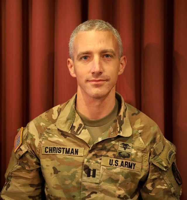 Capt. Jason Christman, an optometrist assigned to Desmond Doss Army Health Clinic, Hawaii, a member of the Regional Health Command-Pacific team competing in the U.S. Army Medical Command Best Leader Competition, July 25-30.