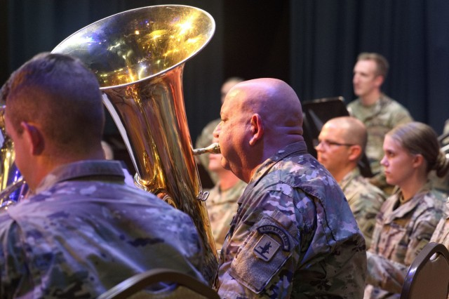 1st. Sgt. Eric Fahrlander plays the tuba in a concert at the last stop on the summer tour June 17, 2021 in West Point, Nebraska. The Nebraska National Guard 43rd Army band toured several cities in eastern and northeastern Nebraska from June 10-17, 2021 during their annual summer concert tour. (Nebraska National Guard photo by Maj. Scott Ingalsbe)