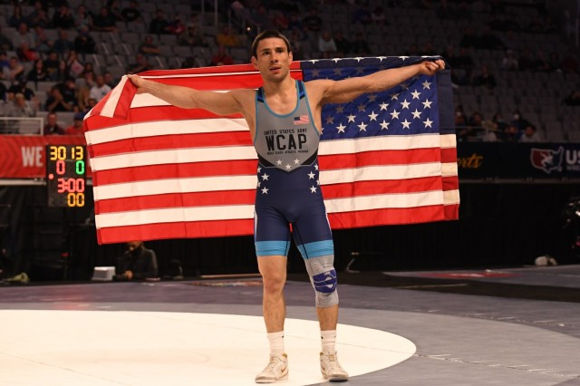 Sgt. Ildar Hafizov earned his spot on the U.S. Olympic Wrestling Team in the men's Greco-Roman 60kg weight class at the 2021 U.S. Wrestling Olympic Trials, April 2-3, in Fort Worth, Texas. Hafizov defeated fellow World Class Athlete Program teammate Sgt. Ryan Mango in the finals. WCAP now has eight Soldier-athletes representing the Army at the Summer Olympic Games this July. Photo by Maj. Nathaniel Garcia, WCAP.