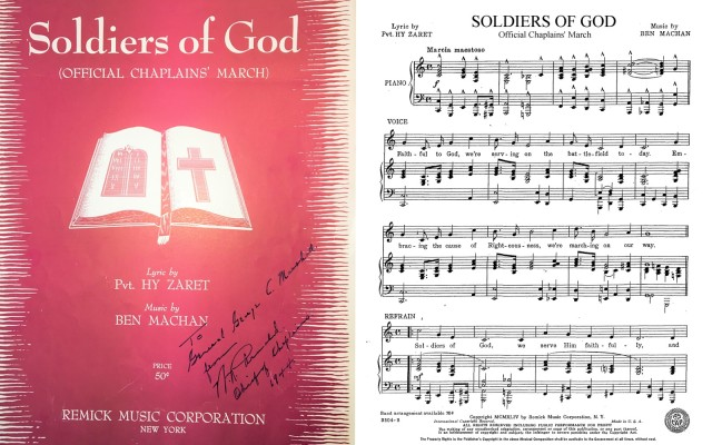 The official Soldiers of God sheet music, signed by Chaplain Arnold for GEN George C. Marshall