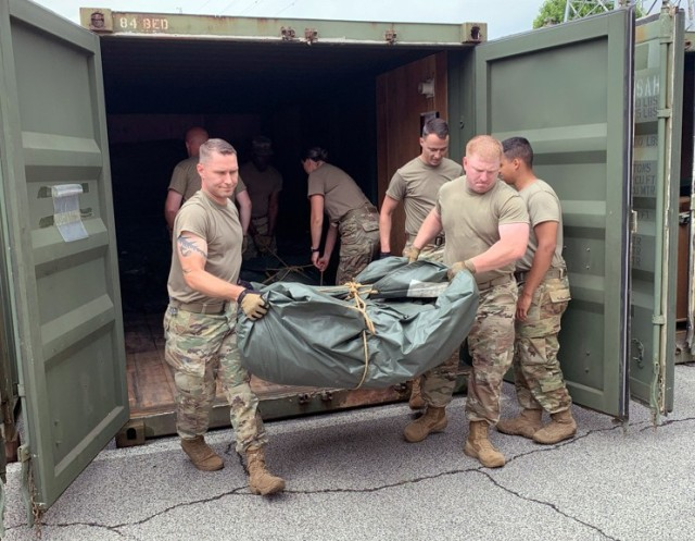 Preparing tents