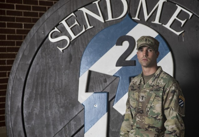 1st Lt. Conner Webber assigned to 3rd Battalion, 15th Infantry Regiment, 2nd Armored Brigade Combat Team, 3rd Infantry Division, poses for a picture at Fort Stewart, Georgia, July 27, 2021. Ranger School is the Army's toughest course and the premier small unit tactics and leadership school. (U.S. Army photo by Staff Sgt. Brian K. Ragin Jr.)