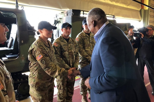 Secretary of Defense Lloyd Austin meets with instructors at the Northern Warfare Training Center at Fort Wainwright, Alaska.