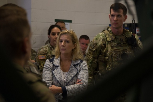 Secretary of the Army Christine E. Wormuth visits Fort Bragg, N.C., July 19, 2021. During her visit, the 82nd Airborne Division showcased various new technology the U.S. Army will utilize in the future, including the Infantry Squad Vehicle, the Variable Height Antenna, and the Integrated Visual Augmentation System