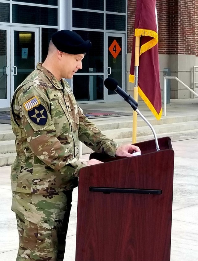 Martin Army Community Hospital's new commander Col. Kevin Kelly addresses BMACH Soldiers, staff and family members during his Assumption of Command ceremony July 28, 2021.