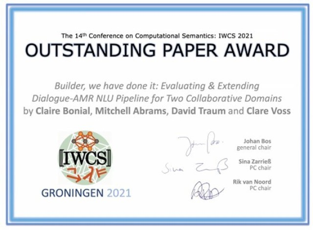 Researchers earn the outstanding paper award at the 14th International Conference on Computational Semantics, or IWCS 2021.