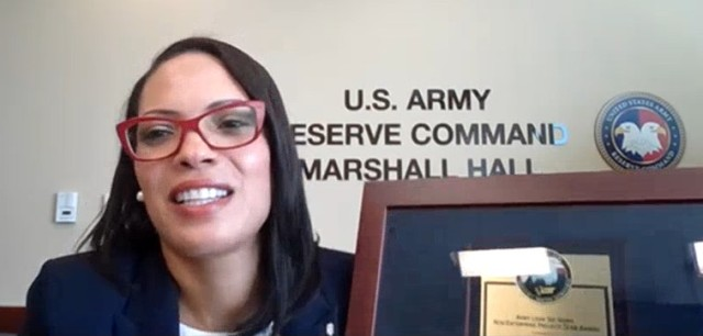 Dr. Madeline Bodoh (Director, Army Reserve Continuous Process Improvement) accepts the 2020 Lean Six Sigma Excellence Award for Process Improvement Non-Enterprise Level Non-Gated Project on behalf of U.S. Army Reserve Command.