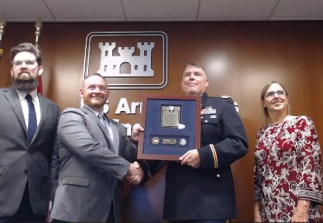 Mr. Keith Carroll (Chief Programs Controls and Analytics) accepts the 2020 Lean Six Sigma Excellence Award for Process Improvement Non-Enterprise Level Non-Gated Project on behalf of U.S. Army Corps of Engineers, Huntington Engineer District, Great Lakes and Ohio River Division.