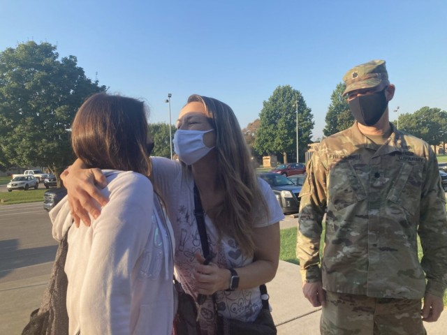 Missy and Lt. Col. Brian Freidline drop their off their daughter, Anna Freidline, Aug. 24, 2020, for the first day of school at Maffey Middle School, Fort Campbell. Getting your students back into a routine before school begins Aug. 9, can help ease the transition to the new school year.