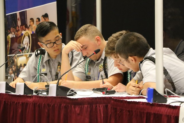 JROTC cadets from Xavier High School, from New York, New York, compete in the final round of competition in the academic portion of JLAB at the Catholic University of America July 25. JLAB tests the leadership and academic skills of JROTC cadets from across the nation. (Photo by Michael Maddox, U.S. Army Cadet Command Public Affairs)