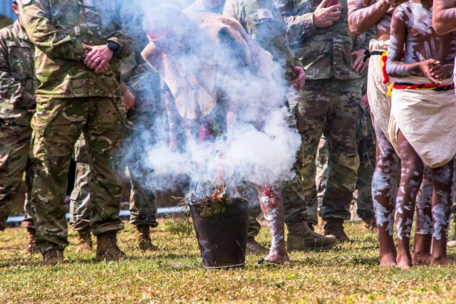 Bindal Elder, Uncle Alfred Smallwood performs the smoking ceremony ritual at a Welcome to Country Ceremony during Exercise Talisman Sabre 2021, at Lavarack Barracks, Townsville, Queensland, July 19, 2021.TS 21 supports the U.S. National Defense Strategy by enhancing our ability to protect the homeland and provide combat-credible forces to address the full range of potential security concerns in the Indo-Pacific. (U.S. Marine Corps photo by Cpl. Michael Jefferson C. Estillomo)