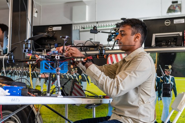 Researchers prepare for experimentation at ARL's R2C2 campus, where the group conducted joint field experiments that support the development of enhanced Soldier-robot teaming.