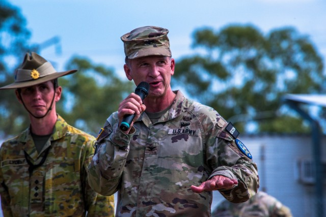 U.S. Army Col. Jerry Hall, Deputy Exercise Director for Exercise Talisman Sabre 21, speaks at a Welcome to Country Ceremony, at Lavarack Barracks, Townsville, Queensland, July 19, 2021. TS 21 supports the U.S. National Defense Strategy by enhancing our ability to protect the homeland and provide combat-credible forces to address the full range of potential security concerns in the Indo-Pacific. (U.S. Marine Corps photo by Cpl. Michael Jefferson C. Estillomo)