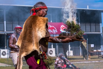 Exercise Talisman Sabre 2021 participants take part in a Welcome to Country smoking ceremony