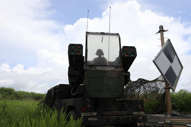 Ohio National Guard's Pfc. Trey Risner, assigned to Charlie Battery, 1st Battalion, 174th Air Defense Artillery Regiment, prepares to operate the Avenger Air Defense System during exercise Forager 21 on July 30, 2021, Tinian, Northern Mariana Islands. The Avenger is a self-propelled surface-to-air missile system which provides mobile, short-range air defense protection for ground units. Exercise Forager 21 exercises our ability to conduct strategic deployment and Joint operational maneuver of forces into and across the Indo-Pacific theater. (Photo by Army Spc. Olivia Lauer)