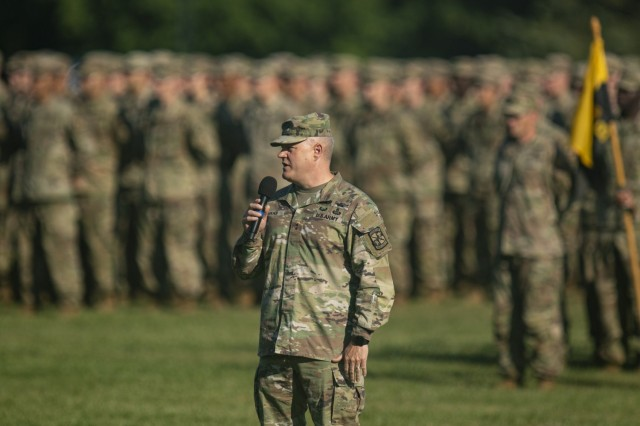 Maj. Gen. John R. Evans, Jr., commanding general of Cadet Command & Fort Knox, addresses graduating Cadets during their Advanced Camp Graduation ceremony on Brooks Field, Fort Knox, Ky., June. 29, 2021.   U.S. Army photo by Staff Sgt. Micah Merrill