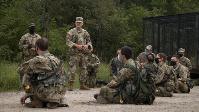 Maj. Gen. John R. Evans, Commanding General of U.S. Army Cadet Command, visits with Army ROTC Cadets to discuss Cadet Command priorities and the importance of Operation Agile Leader. The Task Force Plains Operation Agile Leader Field Training Exercise was held on Camp Gruber, Okla. from September 10 - 14, 2020.   Photo by Lindsay Grant, U.S. Army Cadet Command Public Affairs