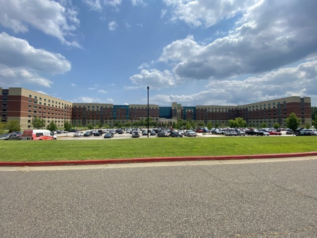 Clouds flow over the Holiday Inn Express on Fort Lee Virginia July 24, 2021.  The Department of Defense, in support of the Department of State, is providing transportation and temporary housing for Afghan special immigrant applicants recently relocated to the United States to complete the final steps of the immigration process. This initiative follows through on America's commitment to Afghan citizens who have helped the United States, and provides them essential support at secure locations, where they and their families can complete the special immigrant visa process safely.  (Official U.S. Army photo by 1st Lt. Tom R. Burcham, CASCOM public affairs)