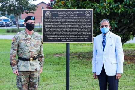 FORT BENNING, Ga - Lt. Gen. Theodore D. Martin, Deputy Commanding General/Chief of Staff, U.S. Army Training and Doctrine Command and congressman Sanford D. Bishop, 2nd Congressional District, Georgia, unveiled a historic marker honoring Pvt. Felix Hall August, 3, 2021 on Post.  Pvt. Hall, a 19-year-old black man from Alabama, had volunteered just a few months earlier. At Fort Benning, he was training for the possibility of fighting overseas in a unit of African American soldiers.  (U.S. Army photo by Markeith Horace, Fort Benning Maneuver Center of Excellence photographer)