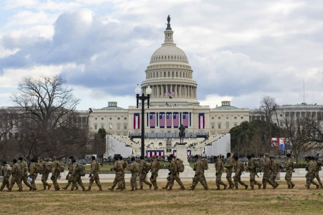 National Guard Soldiers provide security outside the U.S. Capitol during the 59th Presidential Inauguration Jan. 20, 2021, as part of the National Guard's Capitol Response security mission. More than 26,000 National Guard members from all states and territories mobilized to Washington, D.C., to support the inauguration.