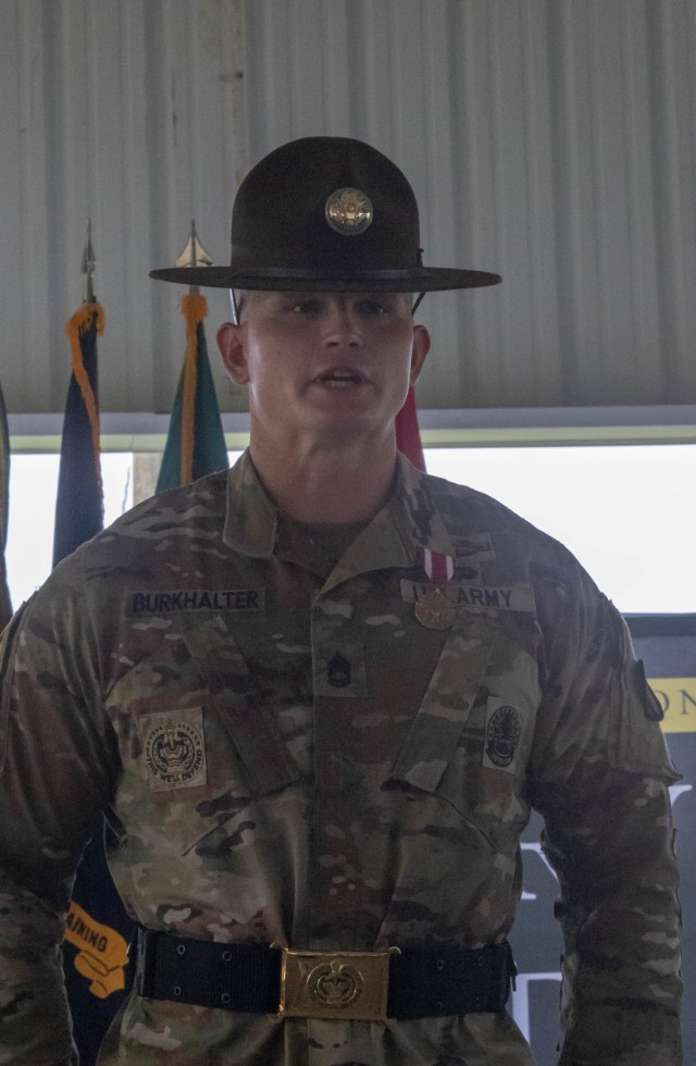 Sgt. 1st Class Travis Burkhalter, a drill sergeant assigned to the U.S. Army Drill Sergeant Academy, Fort Jackson, S.C., recited the Creed of the Drill Sergeant after being named the 2021 Drill Sergeant of the Year on July 30, 2021. Twelve competitors from across the nation endured heat, humidity, rain and rough terrain during the week-long competition that was hosted by Fort Jackson.