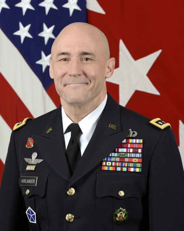 U.S. Army Lt. Gen. Thomas Horlander, Military Deputy to the Assistant Secretary of the Army (Financial Managment and Comptroller), poses for a command portrait in the Army portrait studio at the Pentagon in Arlington, VA, Aug. 29, 2017.  (U.S. Army photo by Monica King/Released)