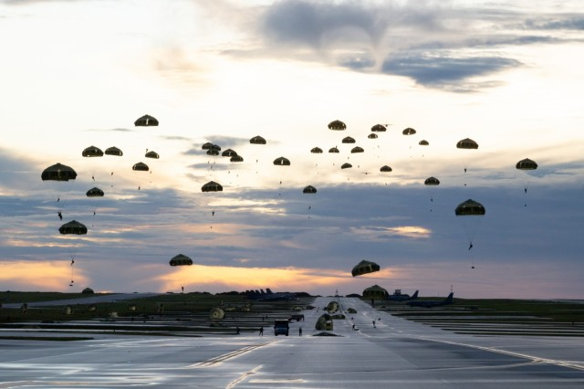 ANDERSEN AIR FORCE BASE, Guam – U.S. Army Green Berets with 1st Battalion, 1st Special Forces Group (Airborne), parachute onto a drop zone alongside members of the Japan Ground Self-Defense Force as part of Exercise Forager 21 on July 30, 2021. Forager 21 enhances our ability to dynamically employ forces to address the full range of security concerns in support of our regional alliances and international agreements across all domains: land, air, sea, space, and cyber. (U.S. Army photo by Staff Sgt. Anthony Bryant)