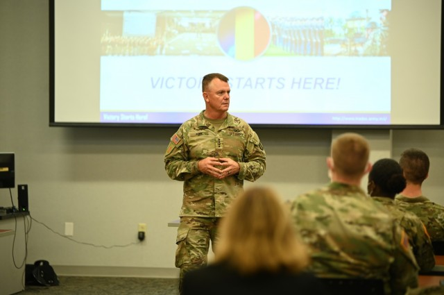 U.S. Army Gen. Paul Funk II, commanding general, Training and Doctrine Command, speaks to a class at Army Logistics University Aug. 5, 2021 at Ft. Lee, Virginia.  The same day, he also observed operations of Task Force Eagle, in support of Operation Allies Refuge. The Department of Defense, in support of the Department of State, is providing transportation and temporary housing for Afghan special immigrant applicants recently relocated to the United States to complete the final steps of the immigration process. This initiative follows through on America's commitment to Afghan citizens who have helped the United States, and provides them essential support at secure locations outside Afghanistan, where they and their families can complete the Special Immigrant Visa process safely.