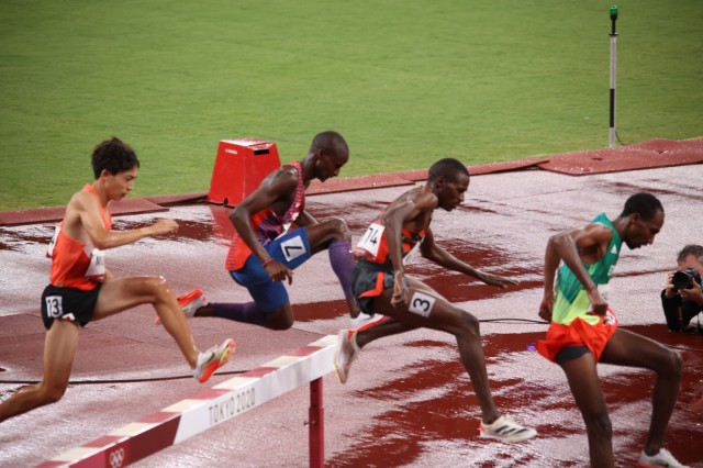 Spc. Benard Keter raced in the men's 3,000 meter steeple chase finals Aug 2, at the 2020 Summer Olympic Games. The Soldier in the World Class Athlete Program placed 11th.