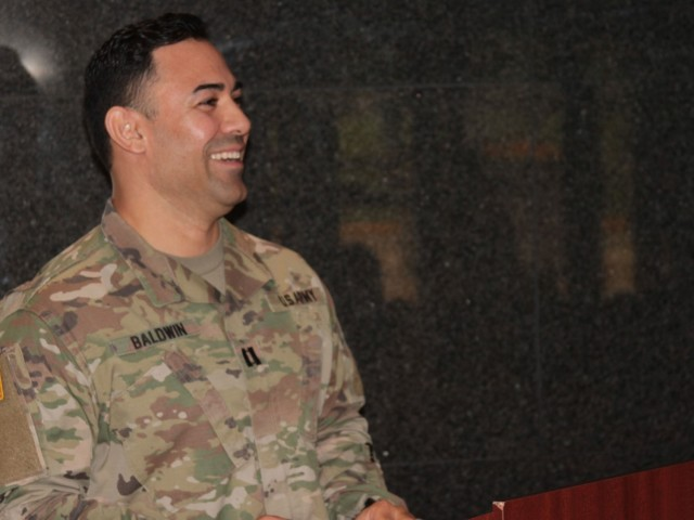 Capt. Jose Baldwin, incoming commander for Headquarters and Headquarters Company at the Detroit Arsenal, Michigan, delivers his remarks following his Change of Command ceremony Jul. 23.