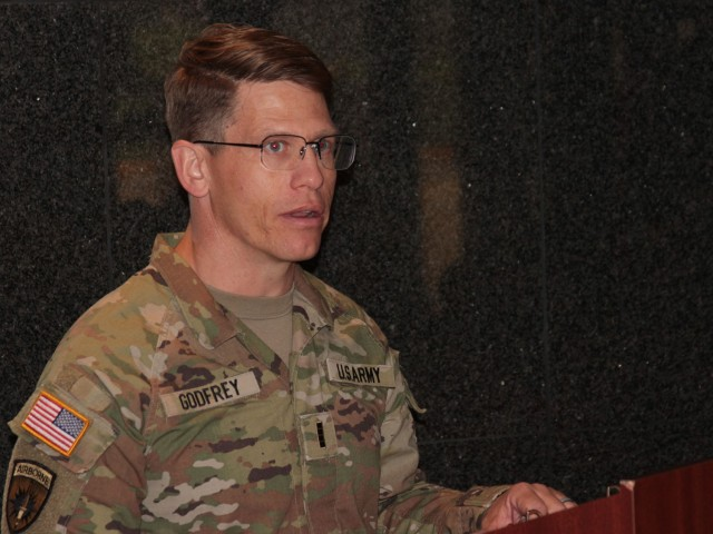 Chief Warrant Officer 4 Matthew Godfrey, interim commander for the Headquarters and Headquarters Company at the Detroit Arsenal, Michigan, delivers his outgoing remarks during a Change of Command ceremony Jul. 23.
