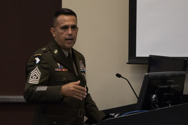 Command Sgt. Maj. Marco A. Torres, command sergeant major of the U.S. Army Sustainment Command, speaks during 3rd Expeditionary Sustainment Command's noncommissioned officer corps induction ceremony, Aug. 5, 2021, on Fort Bragg, North Carolina. 3rd ESC inducted 49 soldiers into the noncommissioned officer corps during the ceremony.