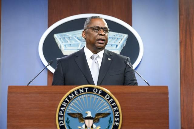 Secretary of Defense Lloyd J. Austin III briefs the press from the Pentagon Briefing Room, Washington, D.C., Feb. 19, 2021.