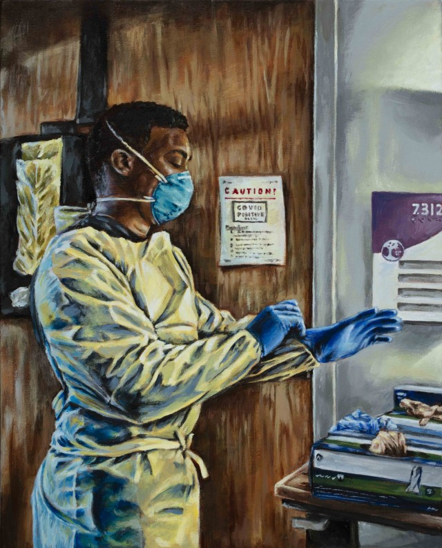 """Painting titled """"COVID 7312"""" by Sgt. 1st Class Curt Loter Acrylic on Canvas, 2021. Army Nurse Sgt. Jahmar Walton prepares to enter a COVID-19 positive room to treat patients."""