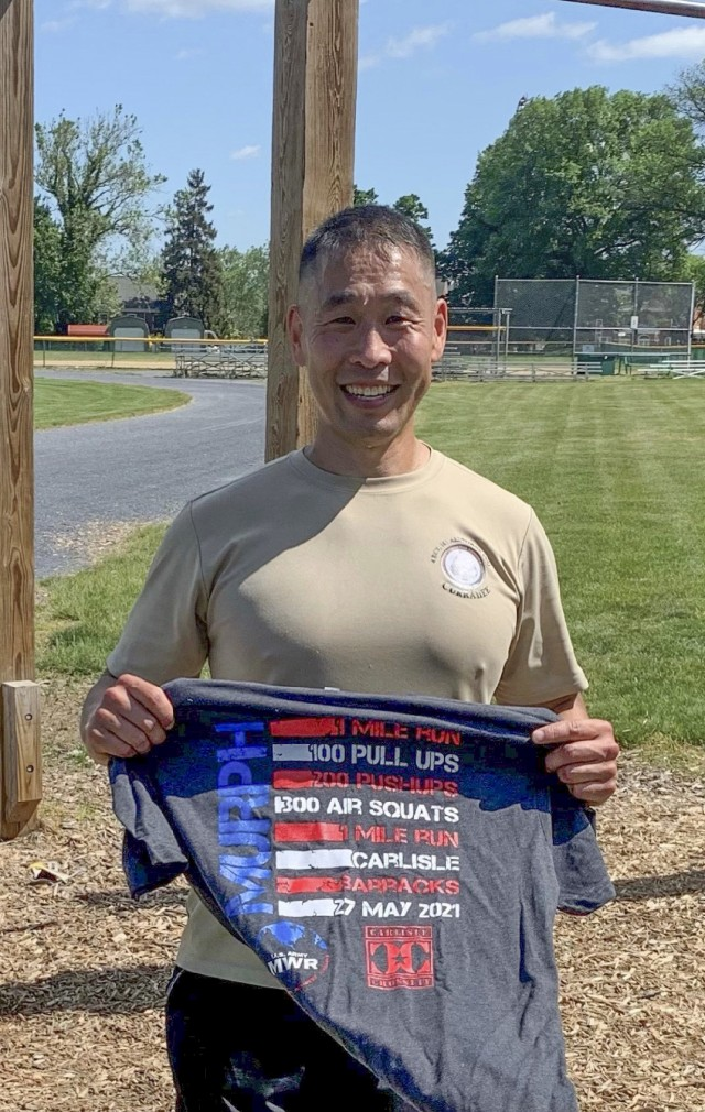 #ChallengeAccepted -- Col. Lance Oskey completes the Murph Challenge at Carlisle Barracks, Pa., Memorial Day weekend, 2021: 42 min., 36 sec. The Murph Challenge includes a 1-mile run, 100 pullups, 200 pushups, 300 squats, and -- another 1-mile run.