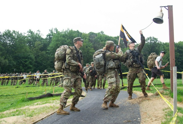 Members of the U.S. Military Academy Class of 2025 completed Cadet Basic Training Monday as they marched back from Lake Frederick stopping at the Victor Constant Ski Slope for a brief rest and to hydrate. It is tradition for those completing CBT to ring the bell on the golf course as they march to West Point.