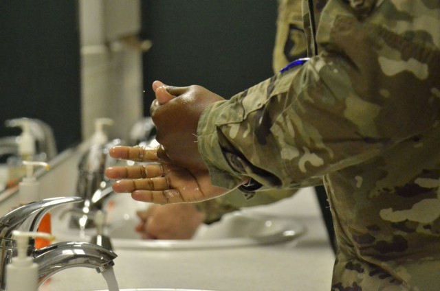 Screaming Eagle Soldier thoroughly washes his hands as a preventative measure against COVID-19's Delta variant. Blanchfield Army Community Hospital considers vaccinations the most effective way to prevent that outcome, and Fort Campbell has reimplemented a mask mandate to further limit spread.