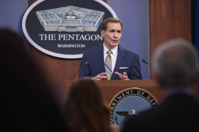 Pentagon Press Secretary John F. Kirby holds a press briefing, at the Pentagon, Washington, D.C., Aug. 12, 2021.