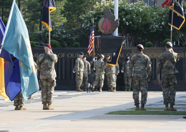Lt. Gen. Francis M. Beaudette, Commanding General, U.S. Army Special Operations Command, relinquished command to Lt. Gen. Jonathan P. Braga during a ceremony at Fort Bragg, Aug 13, 2021.